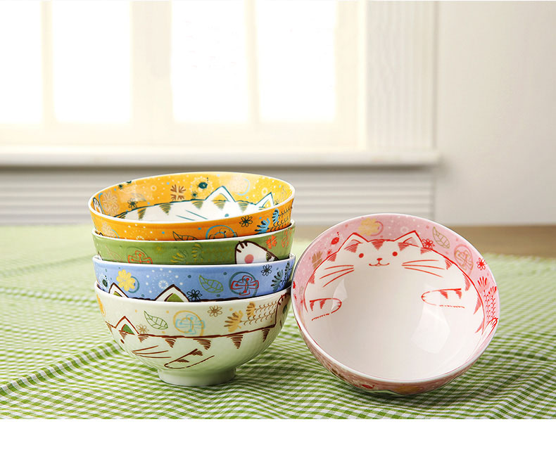 set of 5 pcs lucky cat ceramic rice bowl small cute japanese style hand painting gift - Cat Bowls
