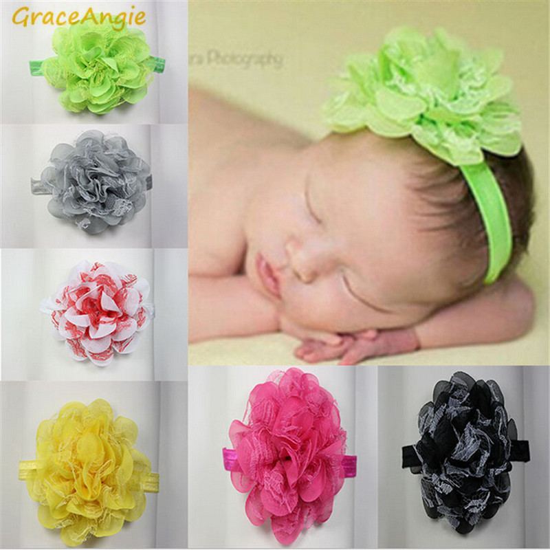 GraceAngie 1PC Lace Chiffon Colorful Flower Headband Newborn Baby Cute Girl Princess Style Birthday Party Accessories Hot Sale