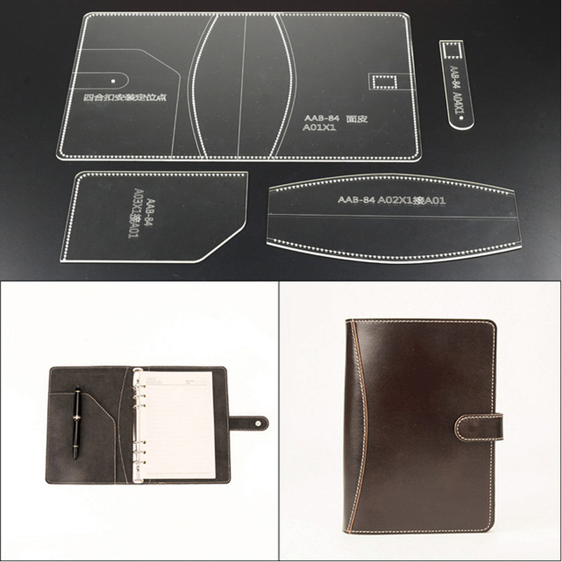 1Set Acrylic Notebook set Leather Template Model Handwork Leather Craft Sewing Pattern Tools 16*23*2cm