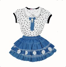 brand summer baby girl clothing sets dragonfly t shirt+denim skirt clothing set for girl 2017 fashion flowers girls clothing set
