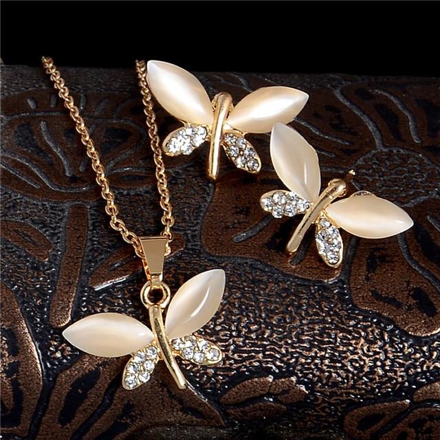 SHUANGR 天然石オパール蝶ジュエリーセット女性のためのゴールド色のチェーンシャンパンペンダントネックレスイヤリングビジューファム