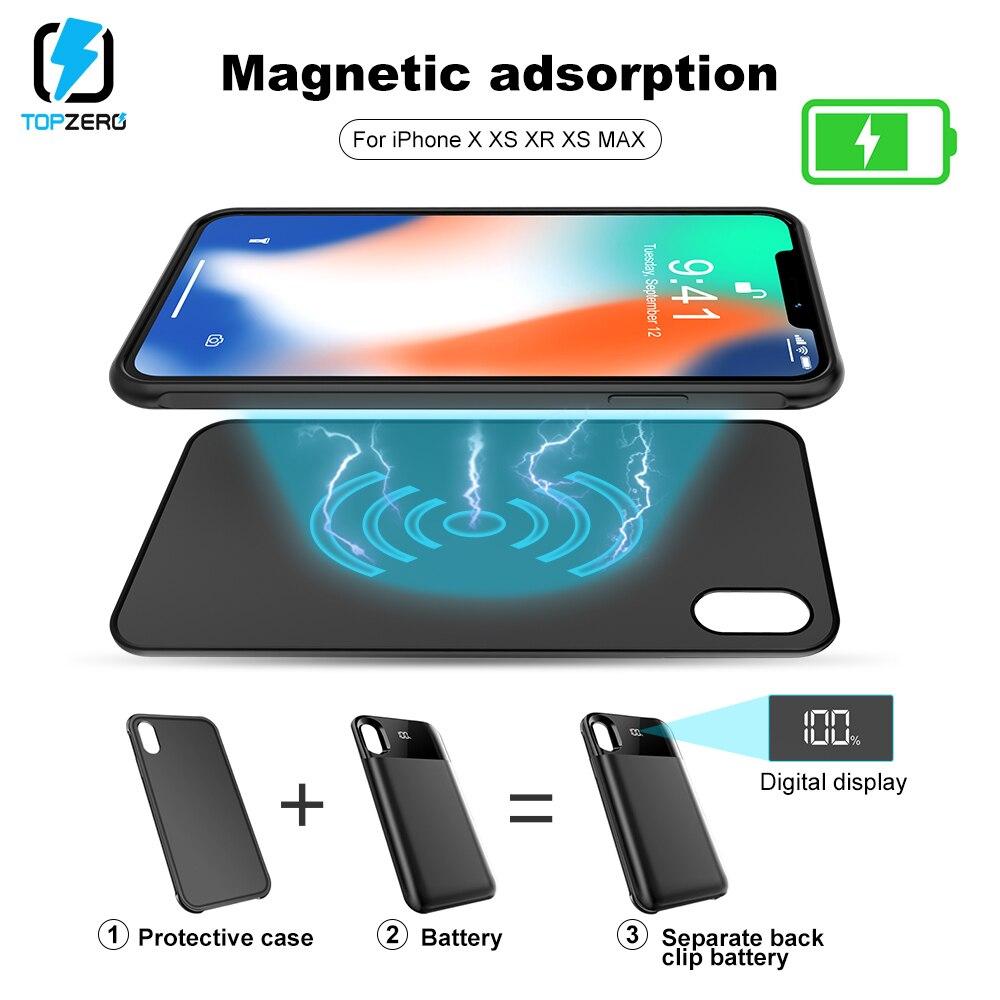 e5796a1791b Cheap TOPZERO LED batería cargador funda para iPhone X XS XR XS MAX  portátil Separable magnética