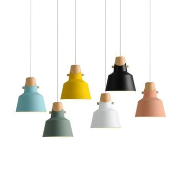 Modern pendant ceiling lamps, E27 Wood Aluminum Pendant Lights, Home restaurant decoration lighting lamps Nordic Colorful