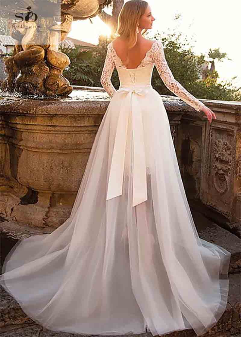 2019 Short Wedding Dress Long Sleeves 2019 Boho Lace Bride Dress Detachable Train Wedding Gowns Buy At The Price Of 85 49 In Aliexpress Com Imall Com