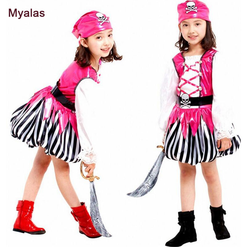 Girl Pirates Dress of the Caribbean Cosplay Costume Halloween Costume for Kids Play Cosplay Costume Christmas Carnaval Costume