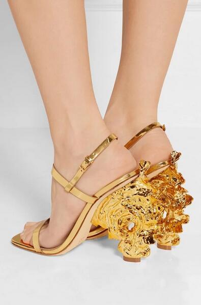 Gold strange heel ankle strap Women Fashion Summer Crystal Sandals Luxury Rhinestone High Heel Lady Pumps Girls Beautiful women
