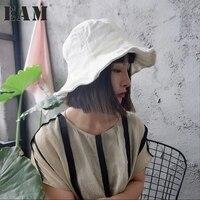 [EAM] 2018 yeni bahar beyaz koyu mavi lotus yaprağı bölünmüş ortak balıkçılık şapka kadın kap moda gelgit tüm maç JA83800