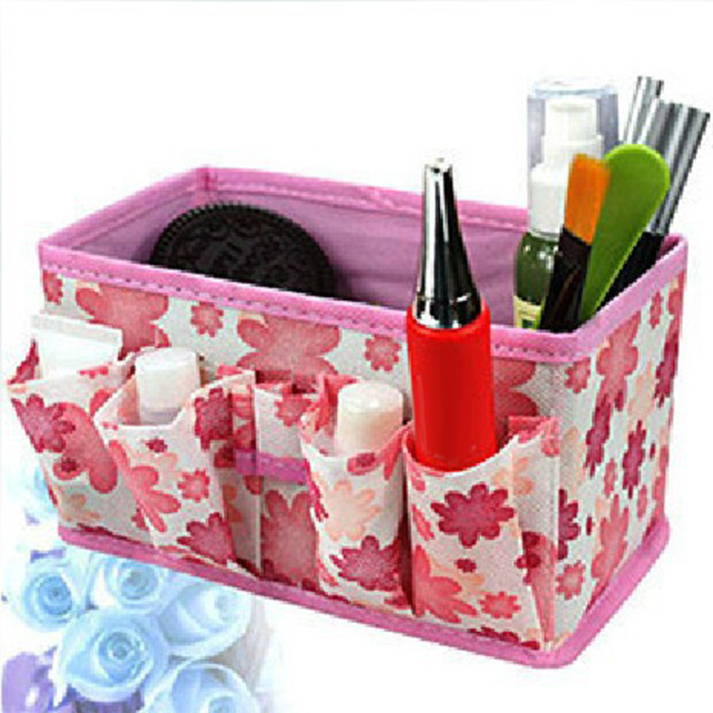 2019 Women Makeup Bag Cosmetic Storage Box Bags Long Holding Foldable Travel Pouch Purse Organizer Bolsa Maquillaje Bright Toile