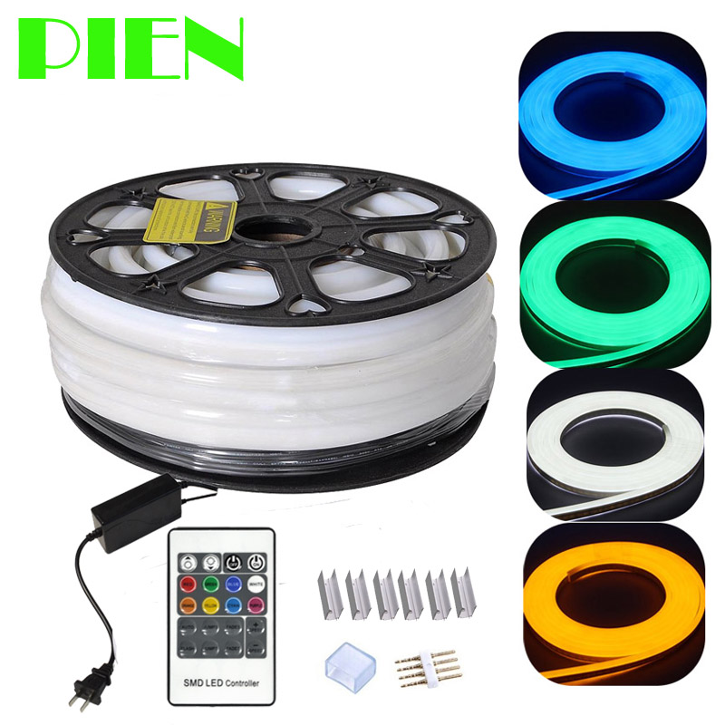 220V 110V Flex LED Neon Rope Light RGB 25m 50m 100m Indoor <font><b>Outdoor</b></font> for Holiday Party Valentine Decor Blue Yellow White by DHL