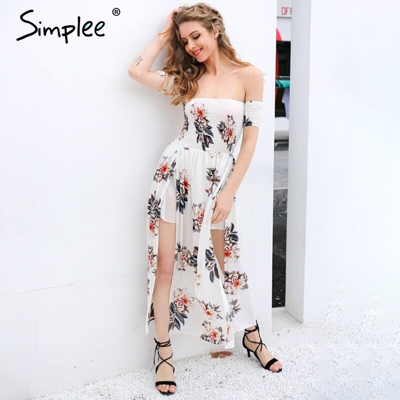 Simplee Boho hombro dividir vestido de verano Mujeres vintage floral print gasa