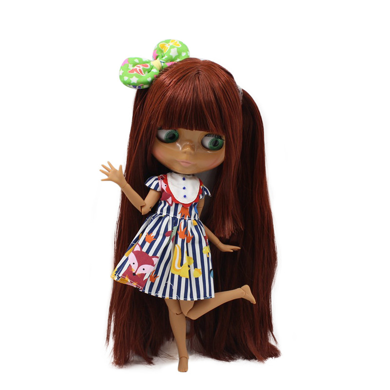 ICY Nude Blyth  doll  No.300BL0362 Red Brown hair with bangs JOINT body Chocolate skin 1/6 BJD-in Dolls from Toys & Hobbies    1