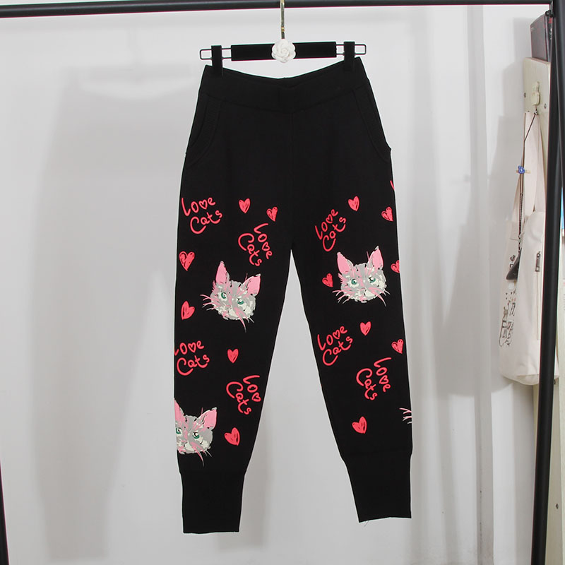 Модный весенний женский комплект 2 шт. свитер с принтом кота; вязаный костюм со штанами; комплект из двух предметов - 6