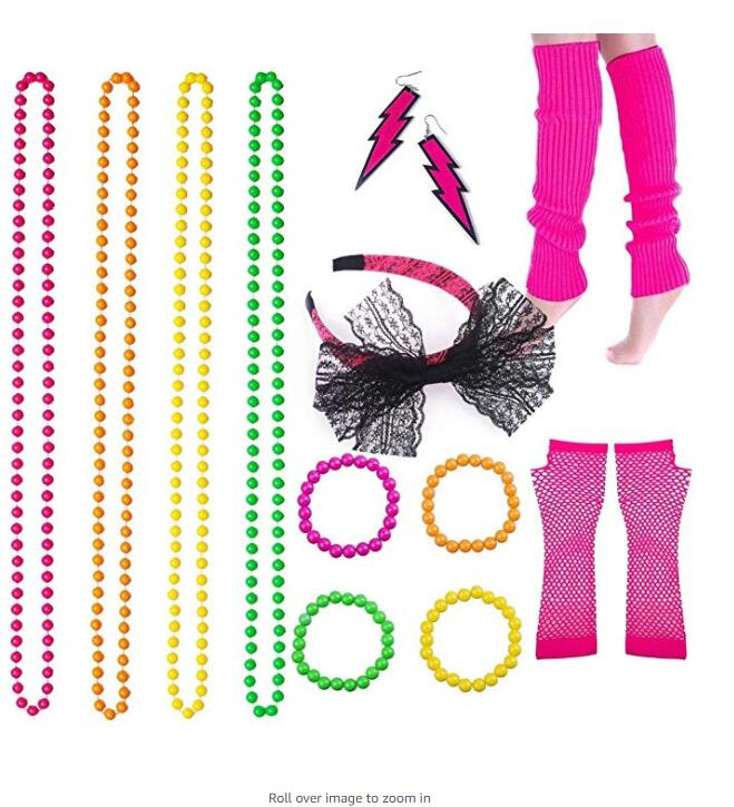 80s Fancy Skirt Accessories Neon Necklace Bracelet Earrings Fishnet Gloves Leg Warmers Headband Hen Party Dance Show