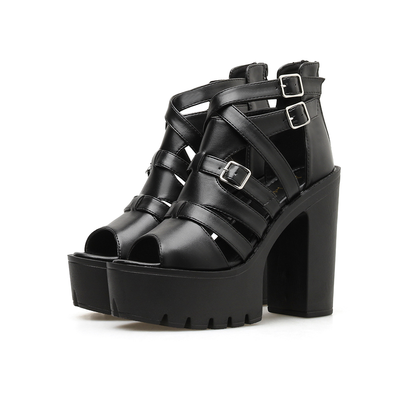 Woman Gladiator Sandals Women Leather Fashion Summer Zipper Party Shoes Black High Heels Open Toe Platform Sandals 13cm in High Heels from Shoes