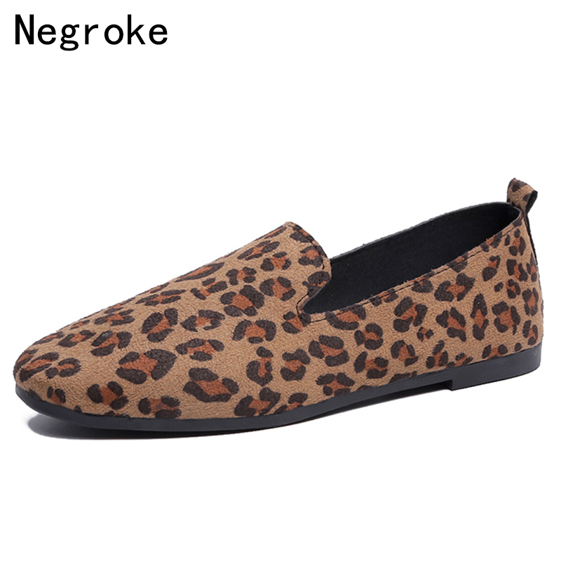 Sexy Leopard Print Flat Shoes Casual Women Loafers 2019 New Round Toe   Suede     Leather   Leisure Footwear Slip On Zapatillas Mujer