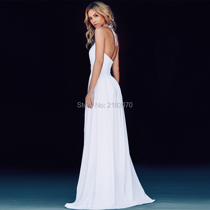 Long White Prom Dresses 2016 Couture Sexy Women Gowns Halter Backless Cheap  Party Dress High Slit Summer Dress Vestidos De Baile a5c20fe0cb81