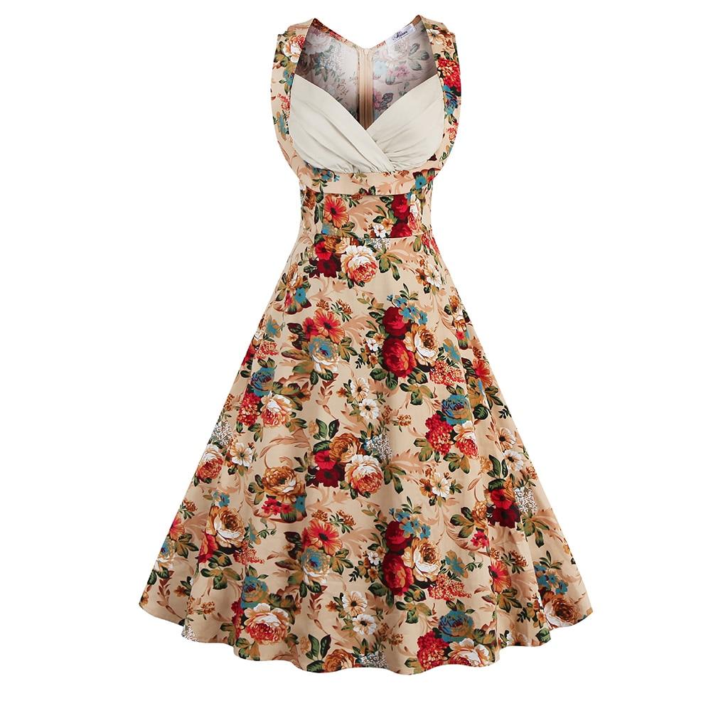 De las mujeres 50 s vintage dress pin up dress hepburn retro con cuello en v de