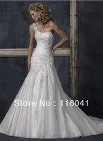 Appliqued Strap Bridal Wedding Dress Classic Style Sheath One Shoulder Appliqued On Organza Lace Custom Make