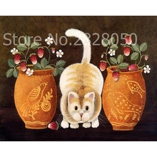 Buy Strawberry And Cat DIY Painting By Numbers Acryl online