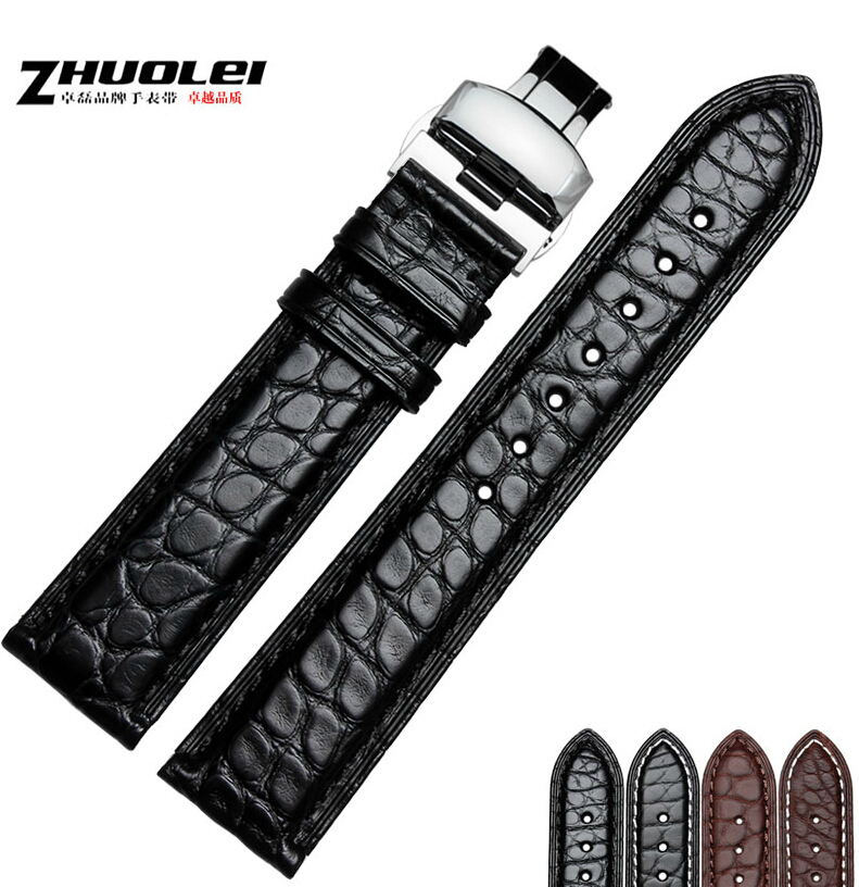 где купить Alligator Genuine Leather Watchband Butterfly Deployment Clasp Watch Strap Replacement for Men Black Brown Color по лучшей цене