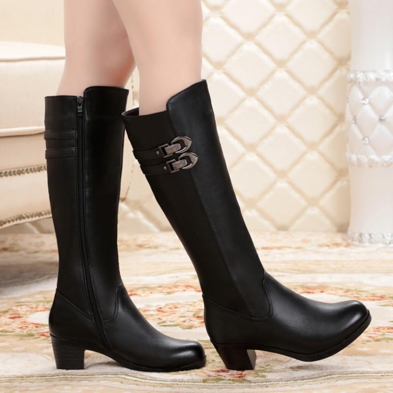La Altas Manera Zapatos Calientes De Negro Botas Señoras Genuino Invierno Las Cuero Redonda Tacones Otoño Mujer Gruesos Mujeres Punta En zpgPp