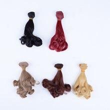 Diy alta temperatura peruca de cabelo encaracolado wavywigs extensões para 1/3 1/4 1/6 bjddoll 15cm * 100cm