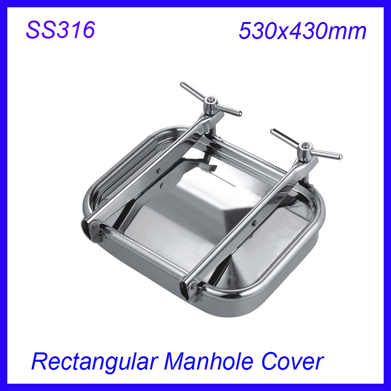 530x430mm SS316L Stainless Steel Rectangular Manhole Cover side Manway tank door way 430x330mm ss304 stainless steel rectangular manhole cover manway tank door way