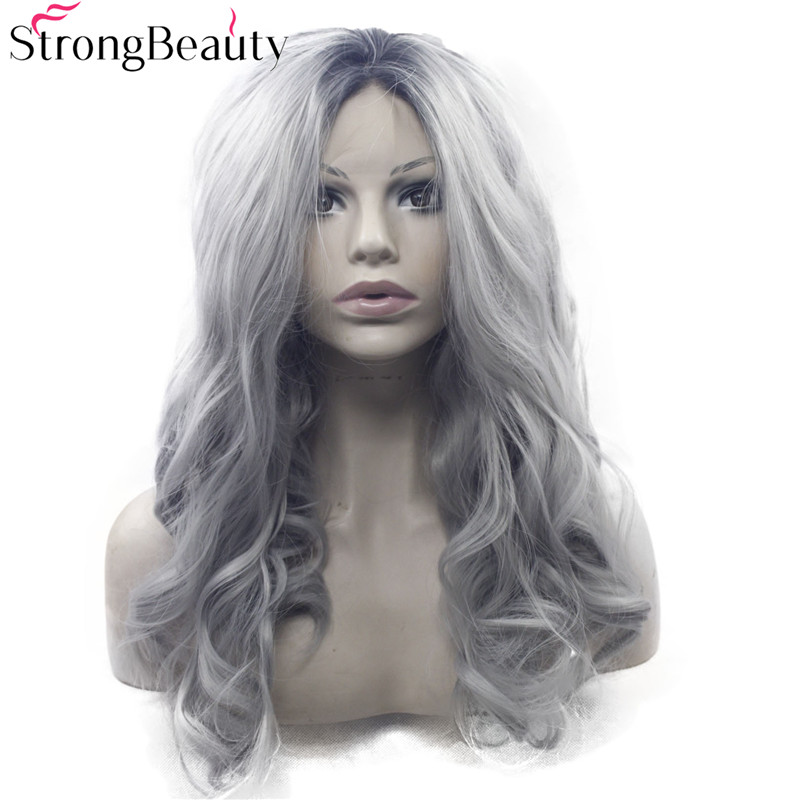Strongbeauty Long Wavy Gray Wig Synthetic Ombre Black to Silver Grey Lace Front Two Tone Wig
