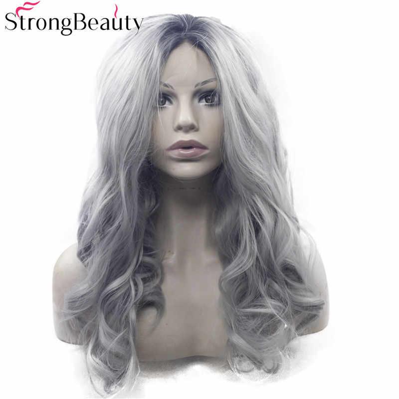 Очень красивые, длинные, волнистые, серый парик, синтетический, Омбре, черный, серебро/серый, спереди, Двуцветный парик