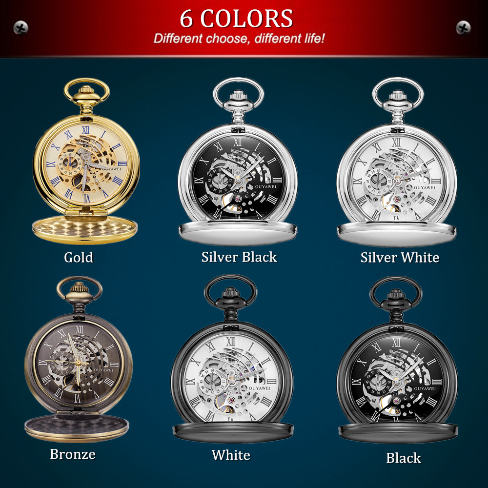Image 3 - New OYW Brand Stainless Steel Men Fashion Casual Pocket Watch Skeleton dial Silver Hand Wind Mechanical Male Fob Chain Watches-in Pocket & Fob Watches from Watches