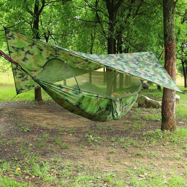 屋外自動クイックオープン蚊帳ハンモックテント防水キャノピーオーニングセットハンモックポータブルポップアップ