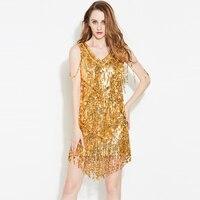 Женская металлик платье с v образным вырезом без рукавов с бахромой золото Цельнокройное платье элегантный Открытое платье мини с пайеткам