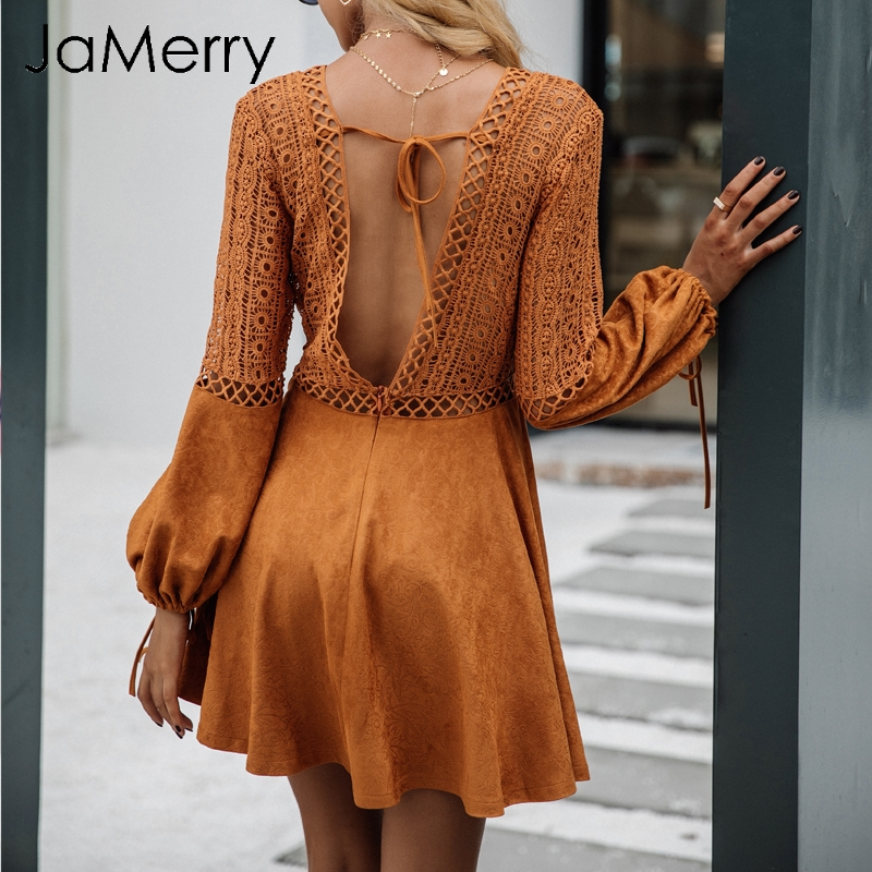 JaMerry V neck sexy lace dress women Hollow out backless summer dress female Spring flare sleeve casual mini dress vestidos 2019 semi formal summer dresses