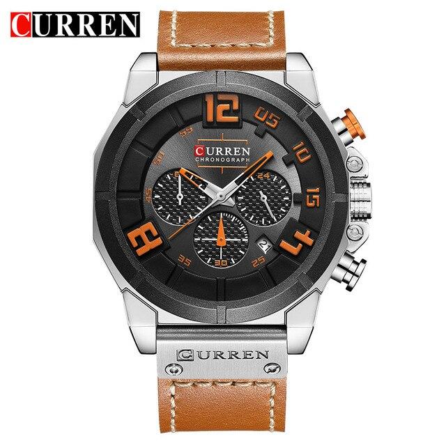 df05f8e46c56 CURREN Brand Luxury Fashion Casual Leather Strap Men s Watch Military Quartz  Chronograph Hot Sale Male Clock