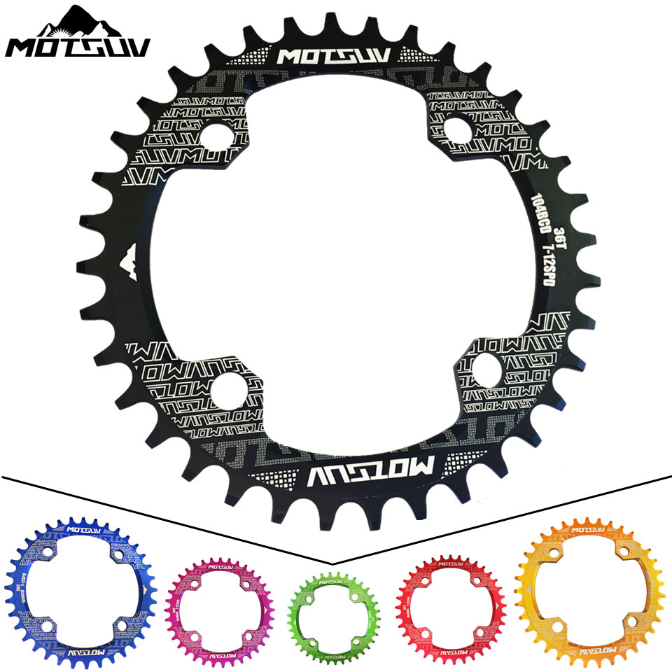 MOTSUV Bicycle Crank MTB 104BCD Round 32T 34T 36T 38T Chain ring Narrow Wide Bike Chainwheel