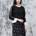 Yichaoyiliang doce preto oca-out mangas t-shirt patchwork flare longas mangas tops tees mulheres branco chiffon camisa pullovers