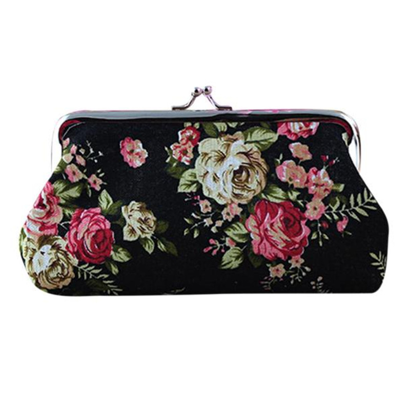 New Women Cute Coin Purse Retro Vintage Flower Canvas Small Wallet Girls Change Pocket Pouch Hasp Keys Bag Free Shipping