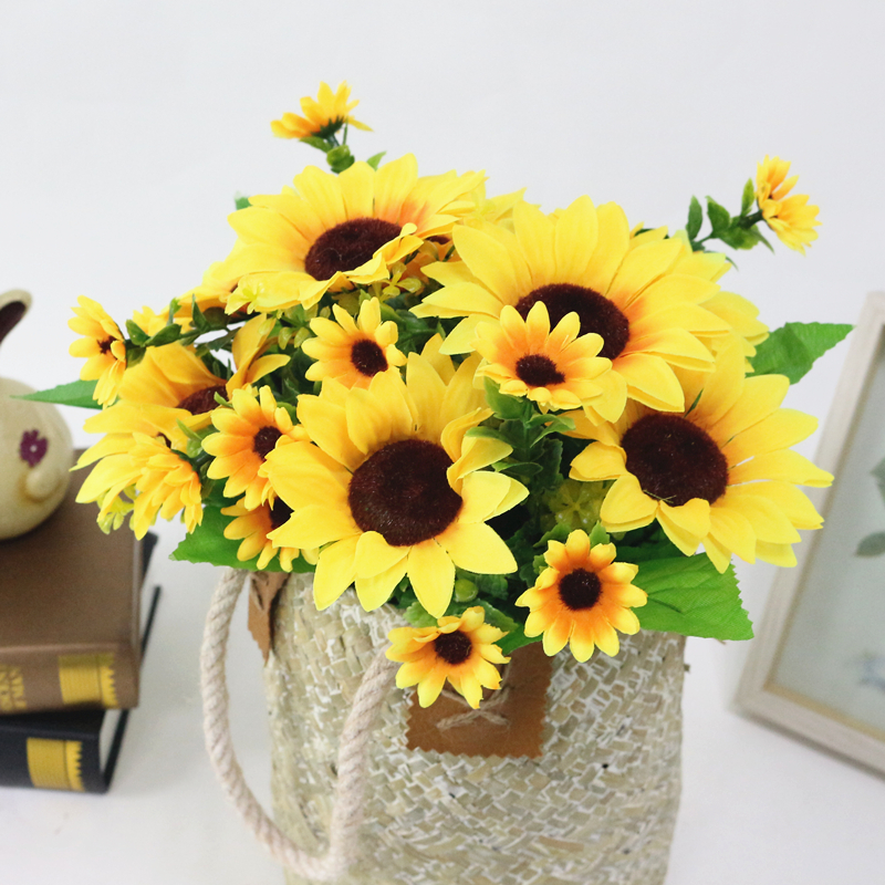 JAROWN Simulation Sunflower Bouquet Artificial Silk Fake Flowers For Home Office Tabletop Decor Wedding Decorations (3)