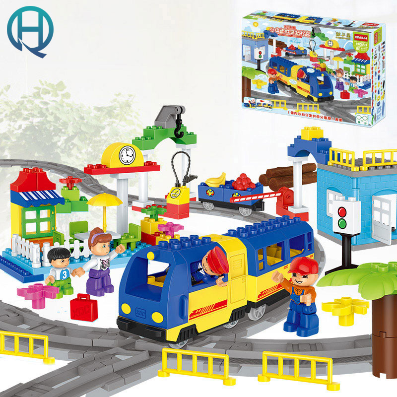 HuiMei Rail Car Center Big DIY Model Building Blocks Bricks Baby Early Educational Learning Birthday Gift Toys for Children Kids huimei basic edition diy model big building blocks bricks baby early educational learning birthday gift toys for children kids