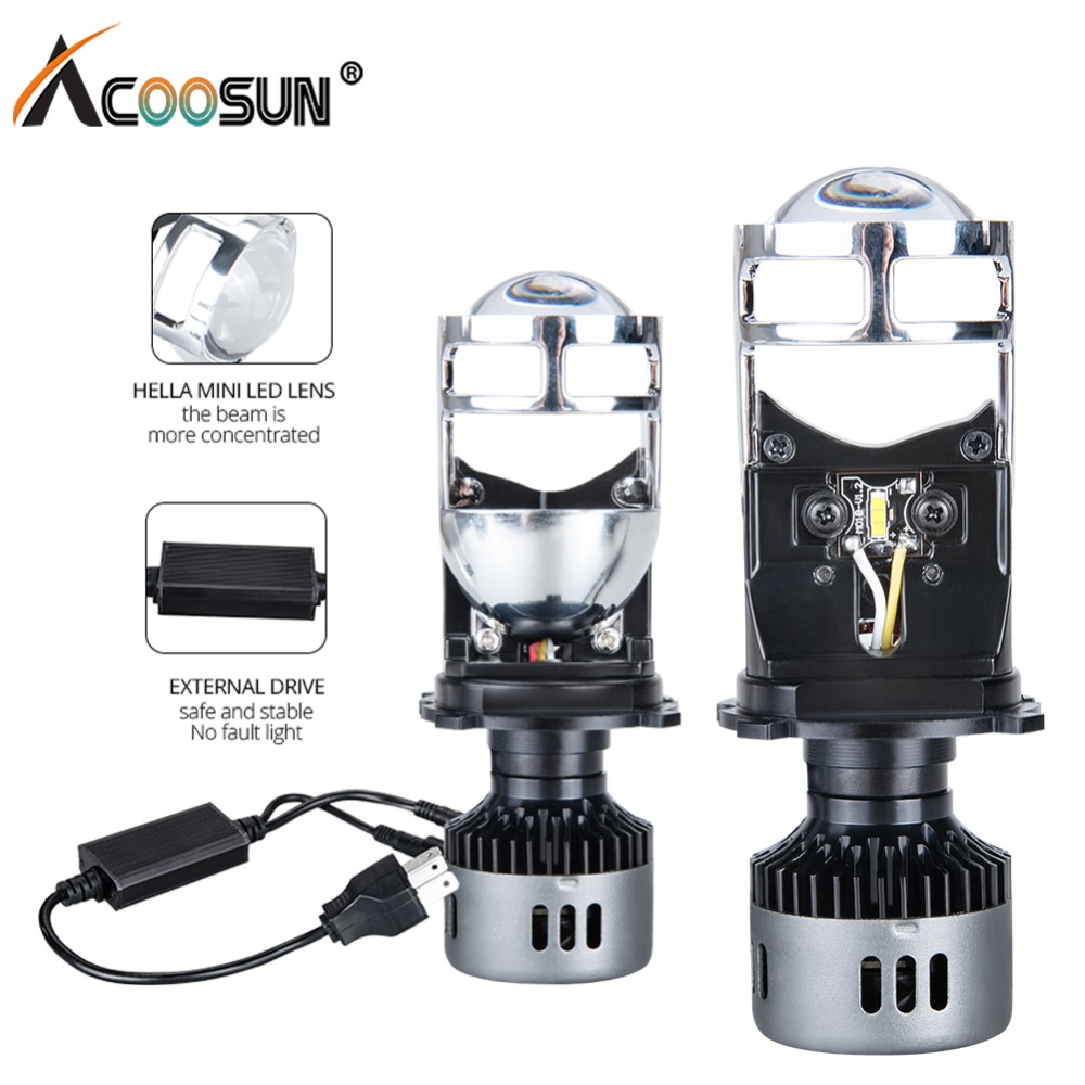 H4 LED Bulb with Mini Projector Lens H4 LED Conversion Kit 9600LM Automobiles Hi/Lo Beam LED Headlight Bulbs 12V 24V 6500K WhiteH4 LED Bulb with Mini Projector Lens H4 LED Conversion Kit 9600LM Automobiles Hi/Lo Beam LED Headlight Bulbs 12V 24V 6500K White