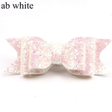 цена на 1PC Retail New 12CM Glitter Hair Bow Clips for Headband Headwear Children Hair Accessories 3 Layers Leather Hair Barrettes
