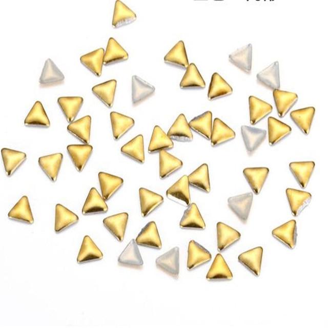 hot sale 100pcs nail Metal sheets triangle 3mm Rivets metal nail decoration golden silver nail sticker