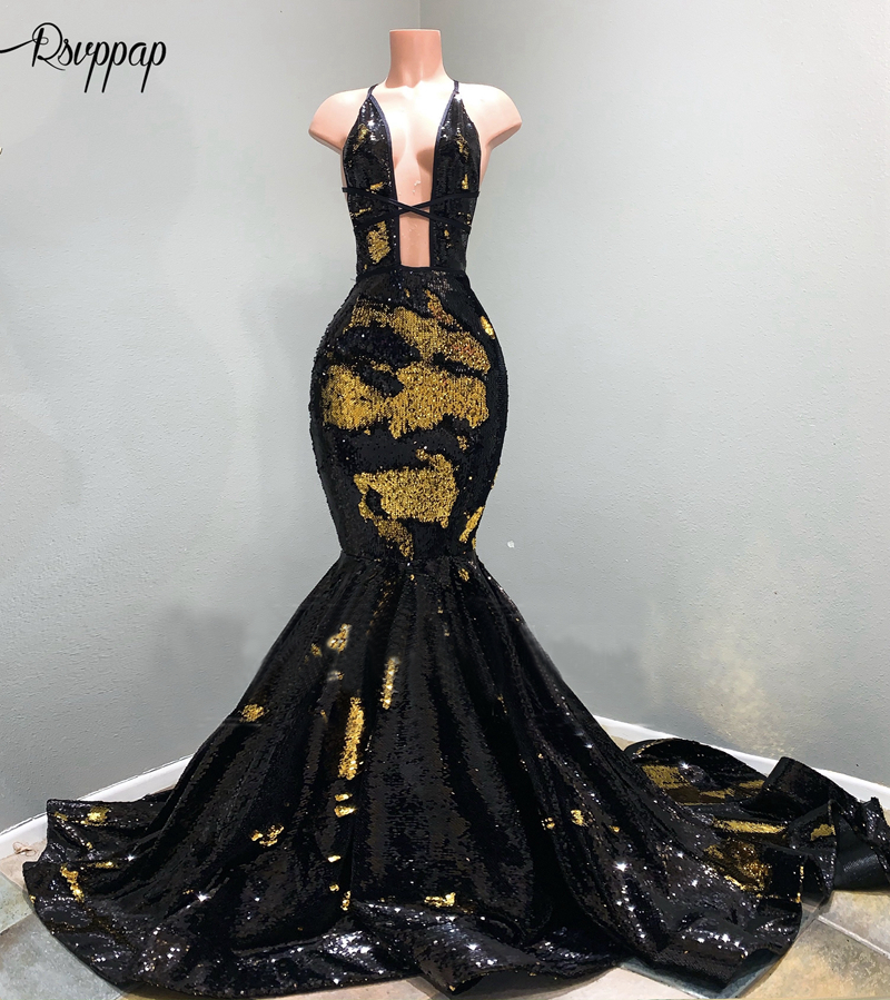 Long Prom Dresses 2020 Mermaid Halter Sleeveless Gold And Black Sequin African Women Prom Dress Party