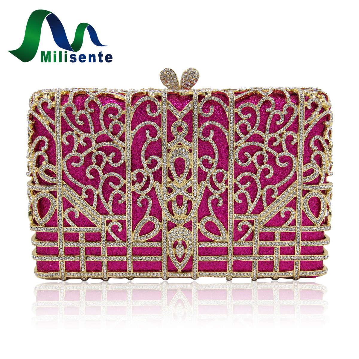 Milisente Women Hot-pink Evening Clutch Bag Ladies New Design Crystal Clutches Bags Female Fashion Party Purses With Chain free shipping a15 36 sky blue color fashion top crystal stones ring clutches bags for ladies nice party bag