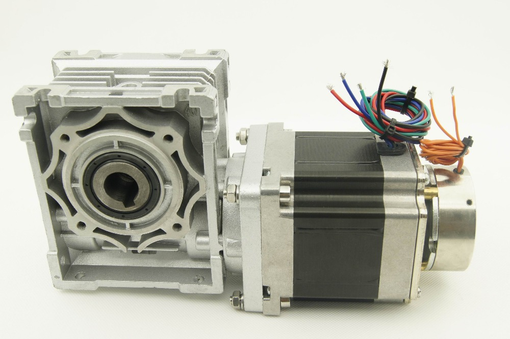 Nema34 Worm geared stepper motor with brake and output shaft 3.3N.m(472oz-in) 2.8A motor length  65mm worm gear ratio 1:5 4 lead nema 34 worm geared stepper motor with brake and output shaft 8 5n m 1215oz in motor length 118mm worm gear ratio 1 5
