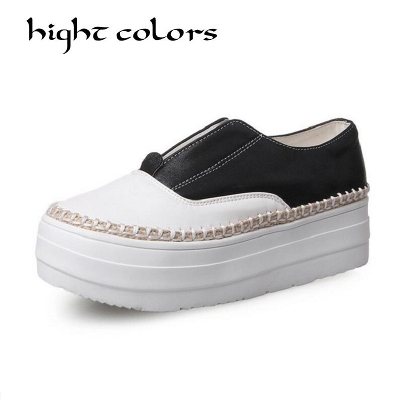 2018 Spring Autumn Fashion Women Shoes Spell Color Round Bottomed Elastic Slip-On Loafers Korean Casual Shoes Woman Flats 2018 spring autumn woman shoes casual fur loafers women warm ladies flats round toe girls 35 39 fashion shoes women 9033 1