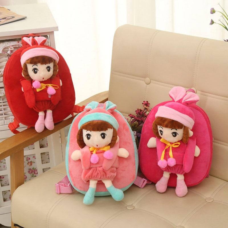 Girls Cute Dolls Backpack Kindergarten Children Lovely Plush Schoolbags PP Cotton Soft Toys Kids Baby Girls Gift Cartoon Bags