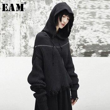 [EAM] 2019 nouveau printemps à capuche à manches longues noir lâche coupe irrégulière tricot grande taille pull femmes mode marée JI508