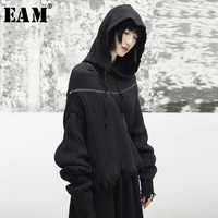 [EAM] 2019 New Spring Hooded Long Sleeve Black Loose Irregular Cut Knitting Large Size Sweater Women Fashion Tide JI508
