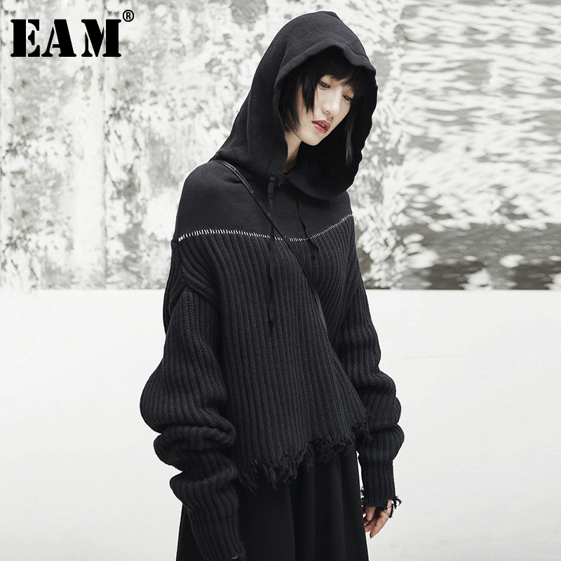 [EAM] 2020 New Spring Hooded Long Sleeve Black Loose Irregular Cut Knitting Large Size Sweater Women Fashion Tide JI508